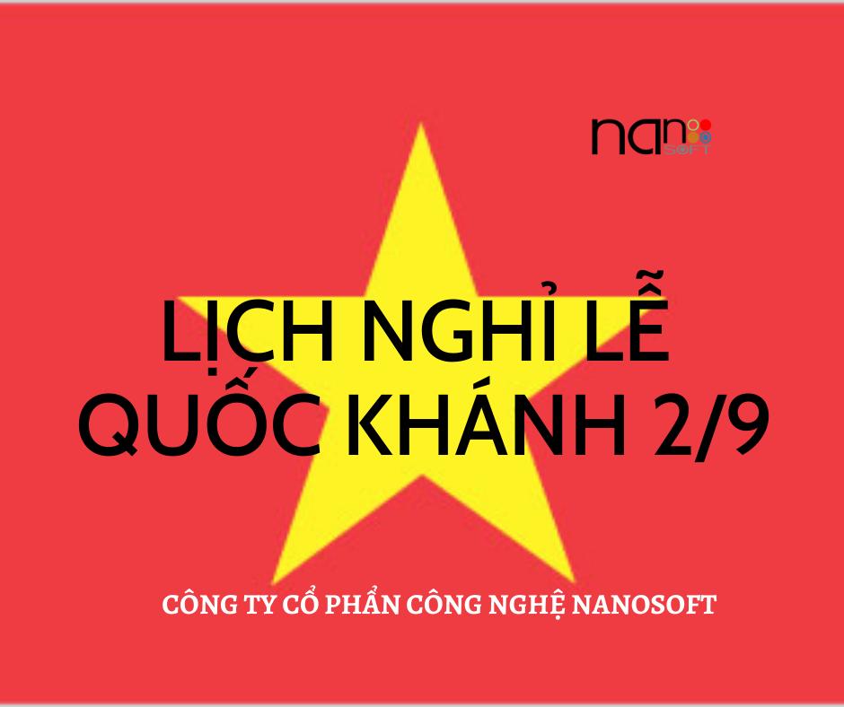 NANOSOFT - Thông báo lịch nghỉ lễ Quốc Khánh (2/9/2020)